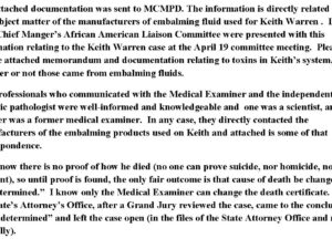 Questionable toxicology report by the State of Maryland Medical Examiner