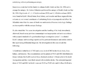 Pathological and Toxicological Investigations full report of Keith Warren's Death