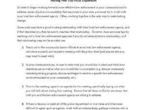 Meeting with your Police Department- steps on how to set up