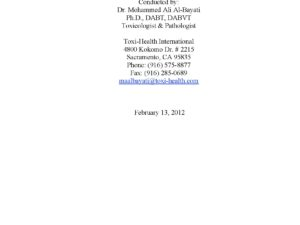 Pathological and Toxicological Investigation 02.13.2012