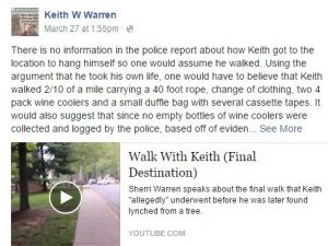 How did Keith get to location to hang himself?