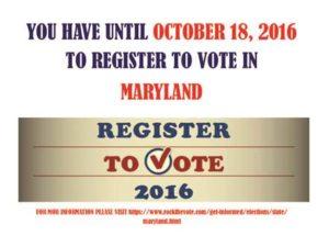 Maryland voter registration deadline 2016