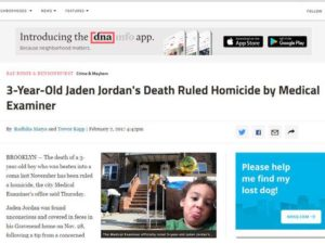 The Medical Examiner officially ruled 3-year-old Jaden Jordan's death a homicide