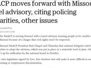 NAACP travel Kansas City, MO travel ban