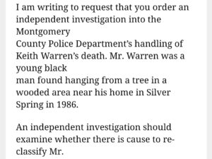 Official Calls for New Look at 1986 Hanging Death of Black Maryland Man -4-19-21