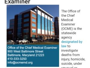 Maryland Medical Examiners office – pattern of bias