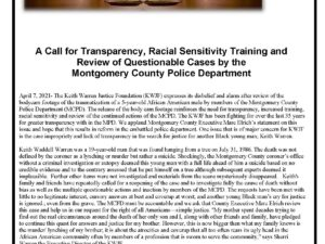 A Call for Transparency, Racial Sensitivity Training and Review of Questionable Cases by the  Montgomery County Police Department